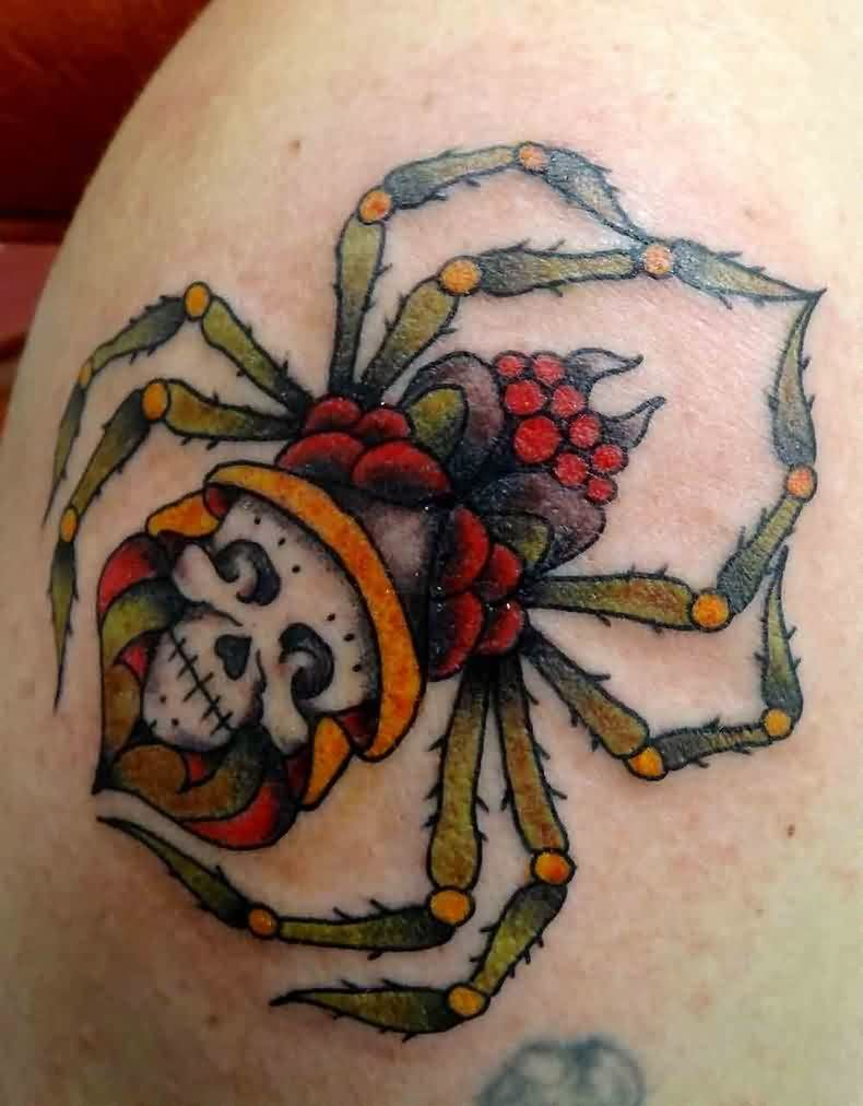 Amazing Skull Spider Tattoo