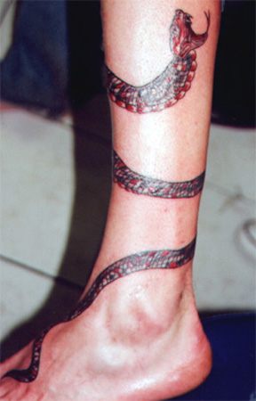 Amazing Snake Tattoo Around Leg