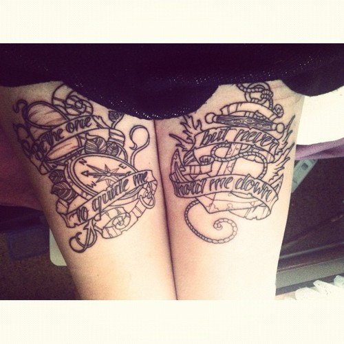 Anchor Compasss Upper Thigh Tattoos