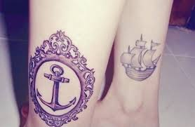 Anchor Mirror And Pirate Ship Tattoos For Girls