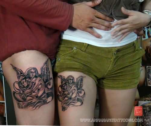 Angel Couple Tattoos On Thigh