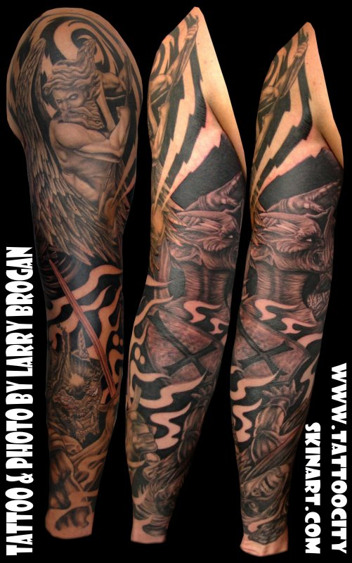 Angel Vs Demon Sleeve Tattoos