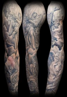 Angel With Cross Full Sleeve Tattoo