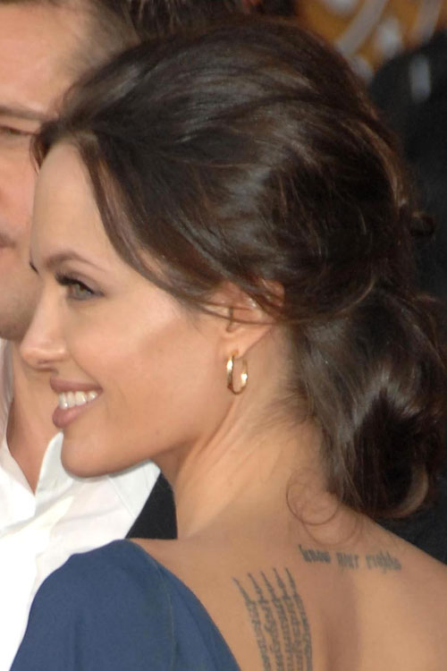 Angelina Jolie's Back Neck Tattoo