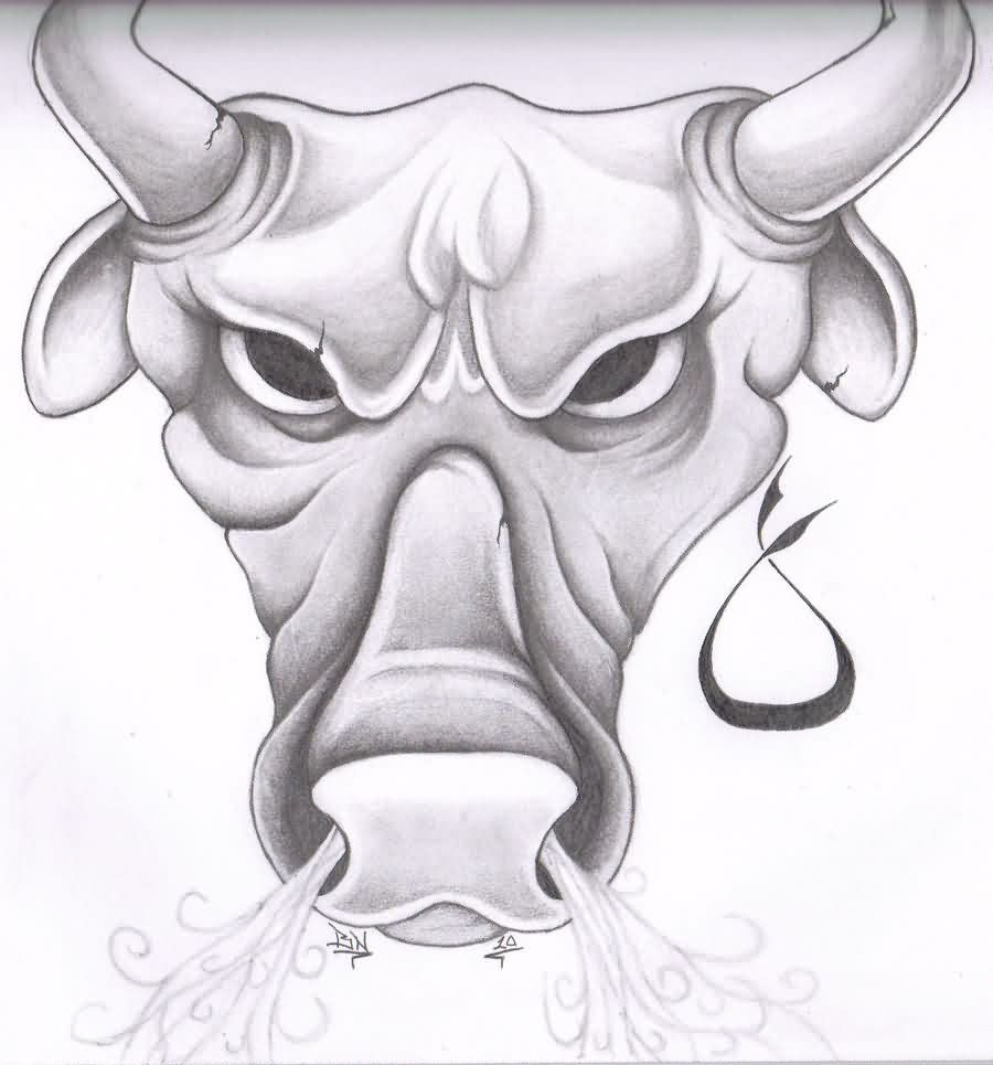 Pics photos taurus tattoos bull tattoo art - Angry Taurus Bull Head Tattoo Design