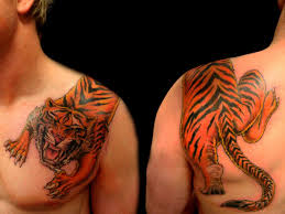 Angry Tiger Shoulder Tattoos