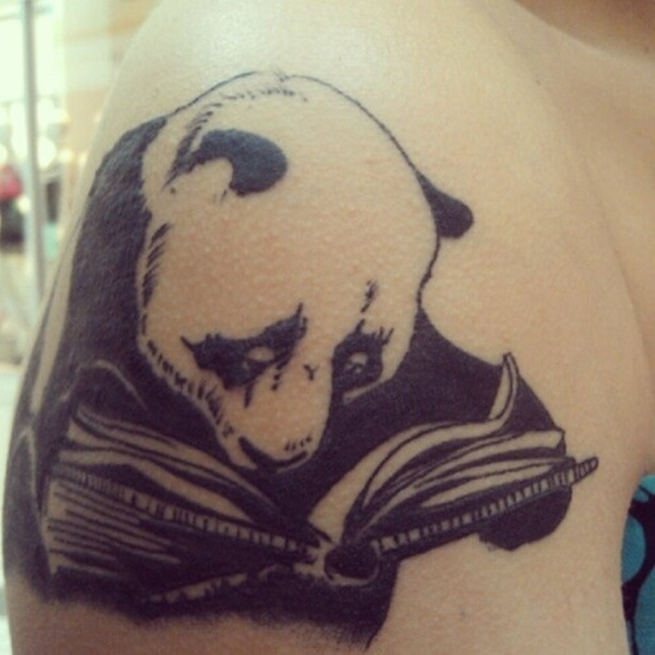 Animal Panda Reading Book Tattoo For Men