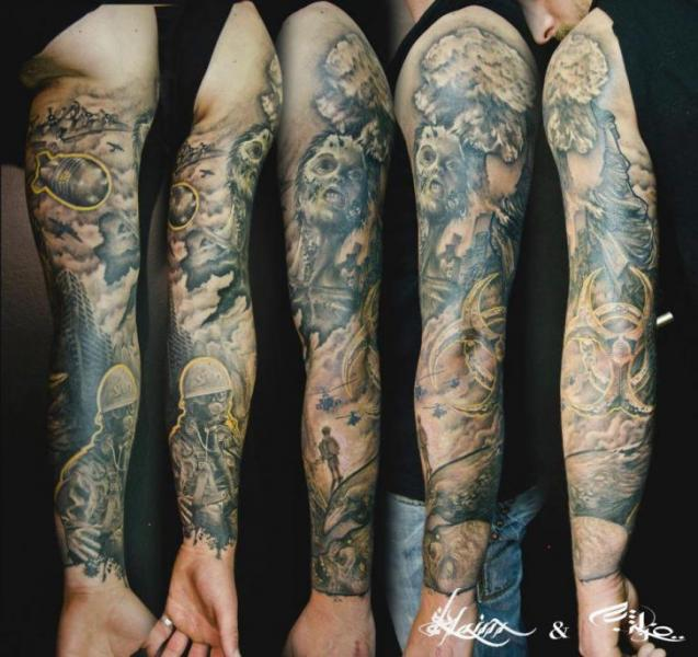 Army War Sleeve Tattoos