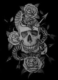 Arrow In Skull Snake And Roses Tattoo Design