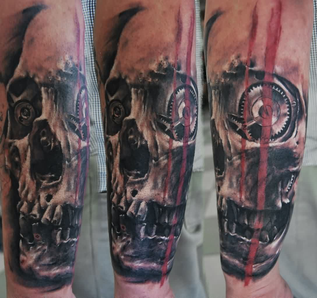 Artistic Biomechanics Eyed Skull Tattoo On Arm