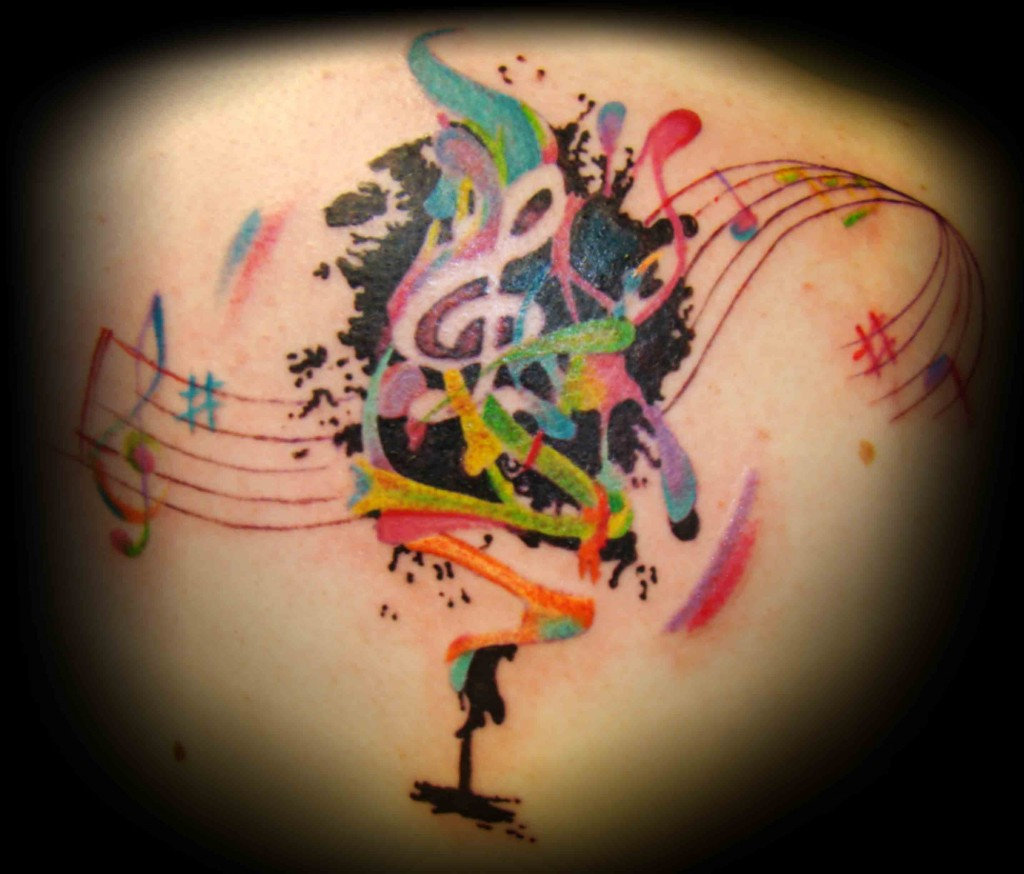 Artistic Colored Music Tattoos