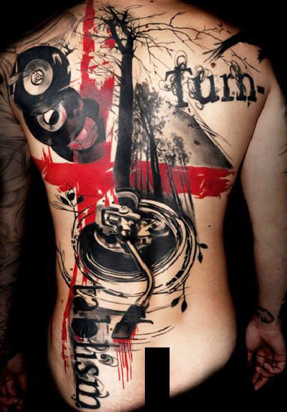 Artistic Music Tattoos On Entire Back