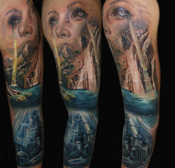 Artistic Ocean Sleeve Tattoos