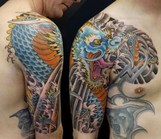 Asian Colorful Dragon Tattoo On Shoulder