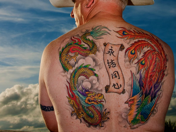 Asian Colorful Snake Scroll And Phoenix Tattoos On Back