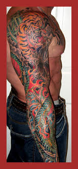 Asian Tiger Flames And Dragon Sleeve Tattoos