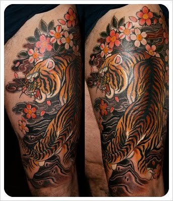 Asian Tiger Muscles Tattoo