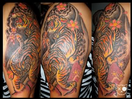 Asian Tiger Muscles Tattoos