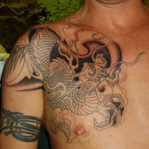Asian Tribal Dragon Shoulder Tattoo For Men