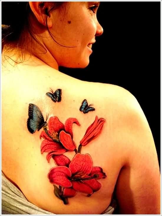 Attractive Butterflies And Red Orchid Tattoos On Back Shoulder