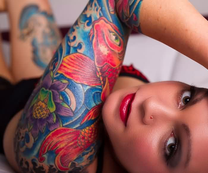 Attractive Colorful Left Sleeve Tattoos