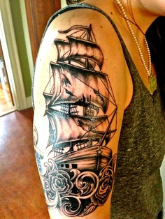 Attractive Grey Ink Ship Tattoo On Upper Arm