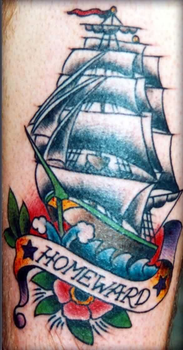 Attractive Homeward Ship And Red Flower Tattoos
