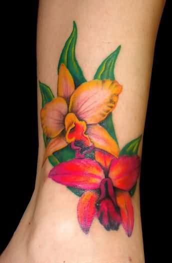 Attractive Orchid Tattoos On Ankle