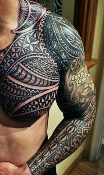 Attractive Samoan Chest And Sleeve Tattoos