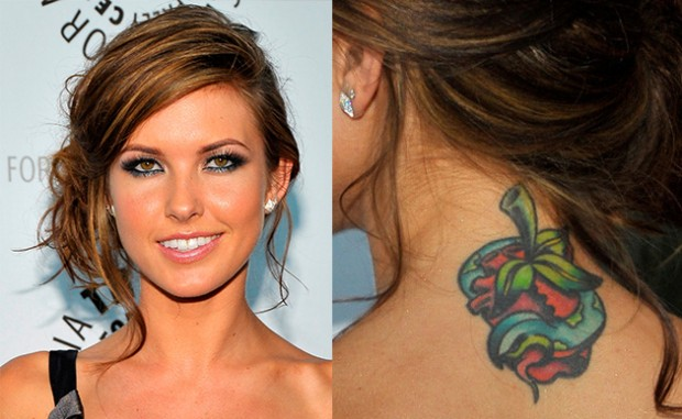 Audrina Patridge Back Neck Tattoo