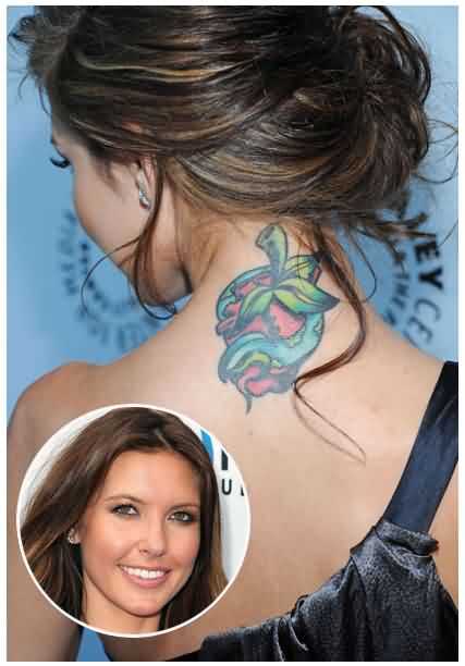 Audrina Patridge Snake Apple Tattoo On Backside Of Neck