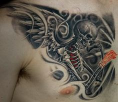 Awesome Angel Skeleton Tattoo On Chest