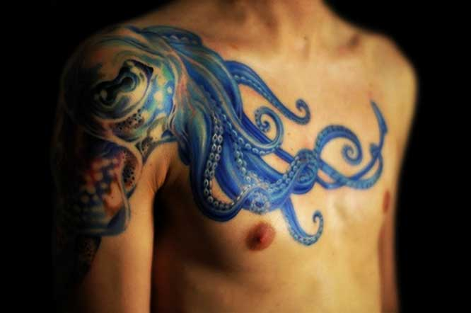Awesome Blue Octopus Tattoo On Chest