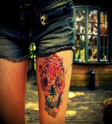 Awesome Colored Flowers Skull Left Thigh tattoos