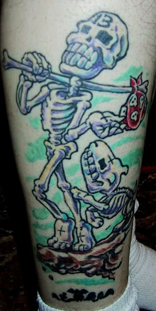 Awesome Colorful Skeleton Tattoo On Leg