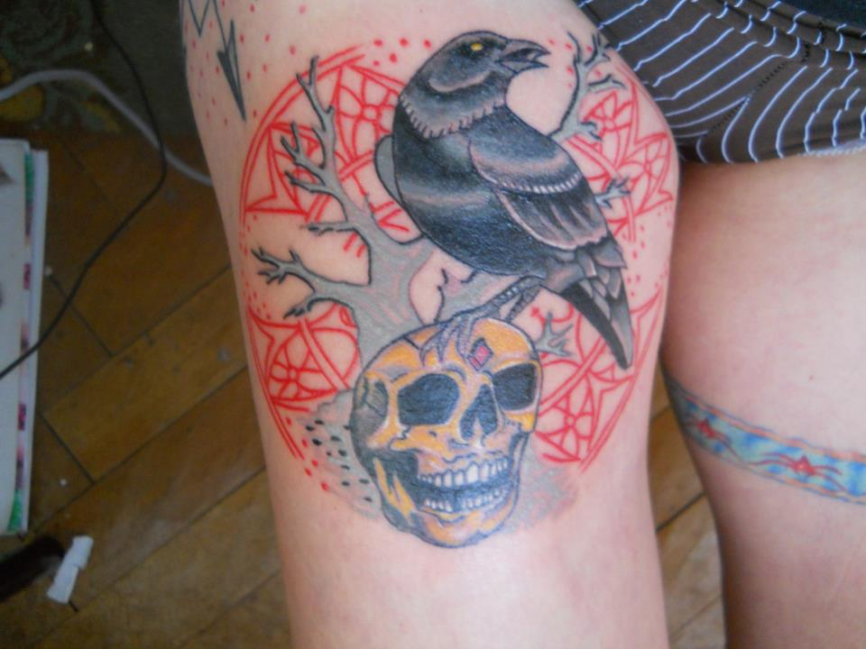 Awesome Death Tattoos On Thigh