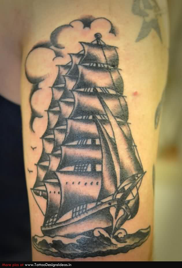 Awesome Grey Ink Ship Tattoo On Arm