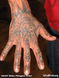 Awesome Grey Ink Skeleton Hand Tattoo