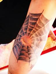 Awesome Grey Ink Spiderweb Tattoo On Elbow
