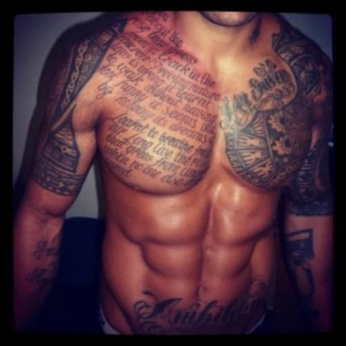 Awesome Muscles And Chest Tattoos For Men