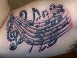 Awesome Music Note Tattoos On Inner Muscles