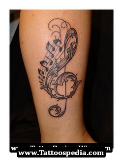 Awesome Music Tattoos On Leg