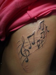 Awesome Music Tattoos On Side Rib