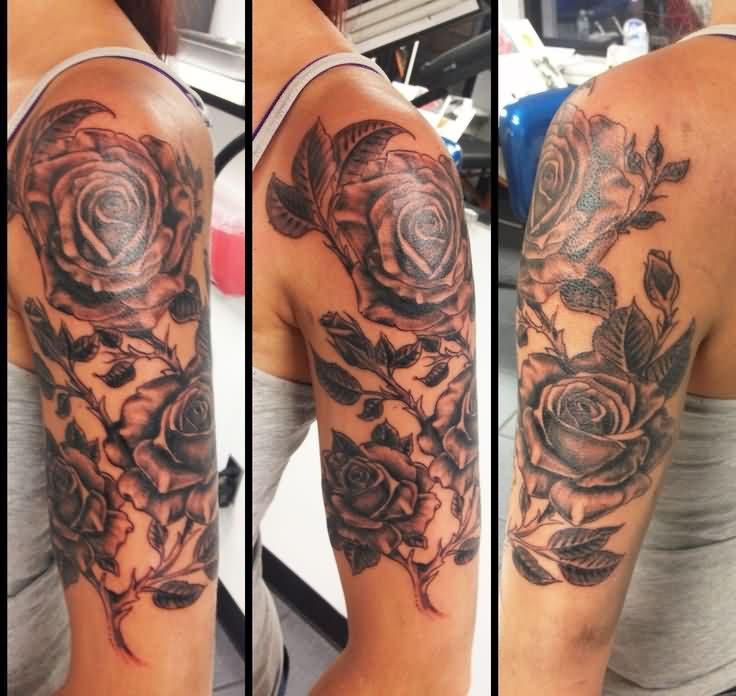 Awesome Roses Tattoos On Left Half Sleeve