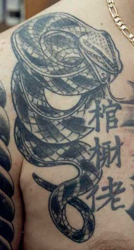 Awesome Snake Tattoo On Chest