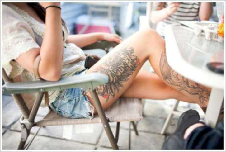 Awesome Thigh Tattoos For Girls