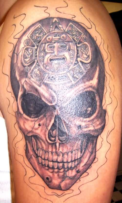 Aztec Skull And Outline Flames Tattoos