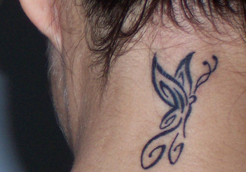 Back Neck Butterfly Tribal Tattoo