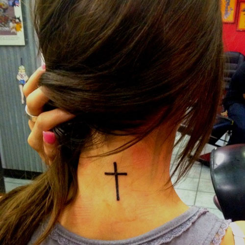 Back Neck Cross Tattoo For Young Girls