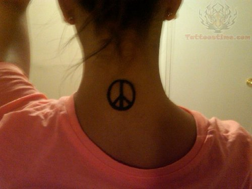 Back Neck Peace Sign Tattoo